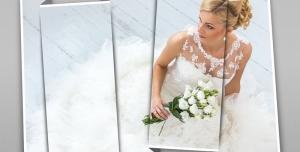 114 1 psd A4 RGB 300dpi 300x152 - موکاپ لایه باز پوستر و عکس های عروسی با قاب های عمودی در سایز های متفاوت با طرح کاغذ تاشده