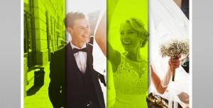 موکاپ لایه باز عکس عروسی با چهار قاب عمودی و قابلیت درج تصویر در طرح کاغذ تاشده با فیلتر سبز رنگ