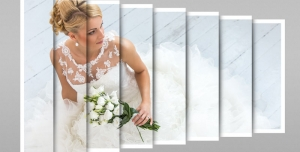 120 1 psd A4 RGB 300dpi 300x152 - موکاپ لایه باز عکس عروسی با قاب های عمودی و قابلیت درج تصویر در طرح کاغذ تاشده مناسب آلبوم عکس