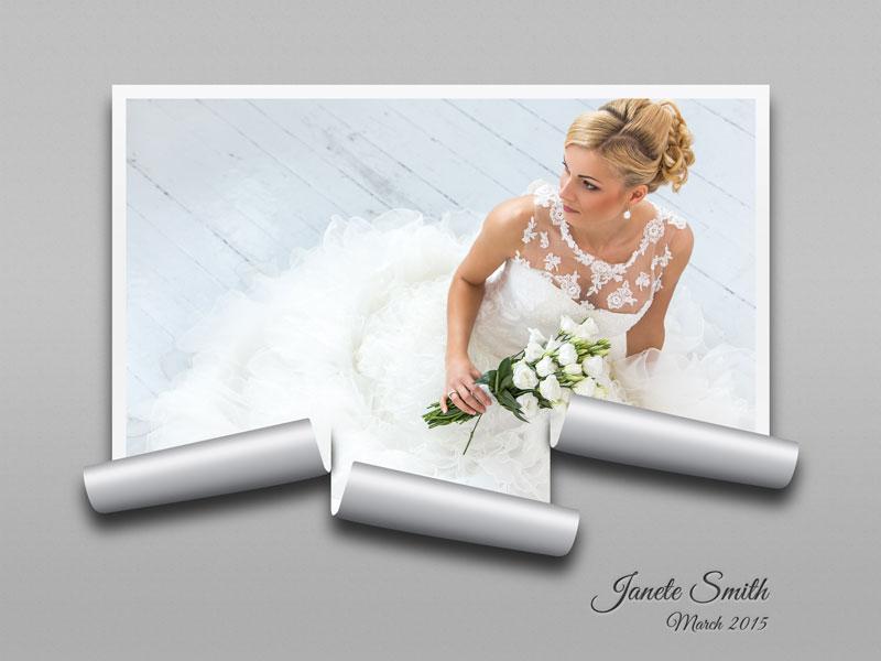 122 1 psd A4 RGB 300dpi - موکاپ لایه باز عکس عروسی با طرح کاغذ های برش خورده از اطراف قاب