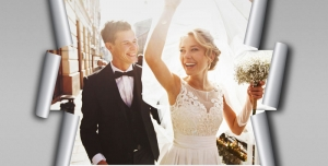 122 2 psd A4 RGB 300dpi 300x152 - موکاپ لایه باز عکس عروسی با طرح کاغذ های برش خورده از اطراف قاب