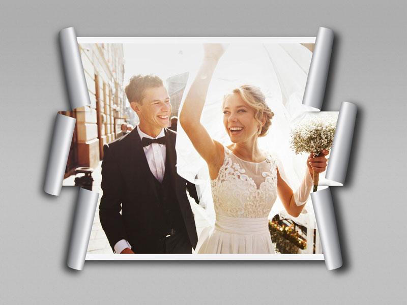 122 2 psd A4 RGB 300dpi - موکاپ لایه باز عکس عروسی با طرح کاغذ های برش خورده از اطراف قاب