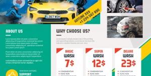 بروشور تبلیغاتی کارواش یا شستشوی خودرو و اتومبیل ویژه خدمات ماشین شوری