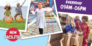 پوستر یا تراکت لایه باز تبلیغاتی شهر بازی کودکان یا مکان های دارای انواع بازی های کودکانه
