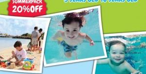 پوستر یا تراکت لایه باز تبلیغاتی استخر یا پارک های آبی کودکان با امکانات مختلف استخر شنا ، غواصی و ساحل