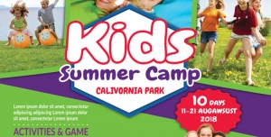 پوستر یا تراکت لایه باز تبلیغاتی زمین های بازی کودکان یا مکان های تفریحی دارای انواع بازی های کودکانه
