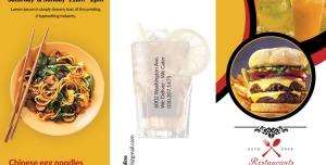 بروشور سه لت تبلیغاتی لایه باز مخصوص منوی ساندویچ فروشی، فست فود و سالادهای مختلف همراه با انواع نوشیدنی