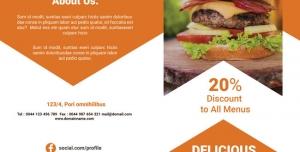 بروشور دو لت تبلیغاتی ساندویچ فروشی ، فست فود و کترینگ با عکس انواع ساندویچ های خوشمزه