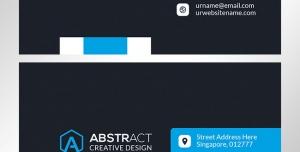 کارت ویزیت لایه باز شرکتی و رسمی مخصوص اشخاص با طرح ساده و ترکیب رنگ آبی و زمینه مشکی