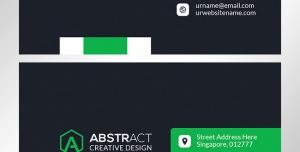 کارت ویزیت رسمی لایه باز مخصوص اشخاص با طرح ساده و ترکیب رنگ سبز و زمینه مشکی