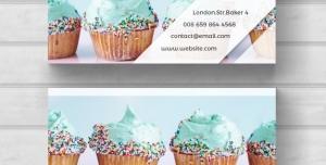 کارت ویزیت لایه باز انواع شیرینی فروشی یا کیک پزی با تصویر کیک خامه ای تک نفره