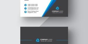 کارت ویزیت لایه باز رسمی ساده با زمینه قالب مشکی و رنگ های سفید و آبی