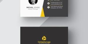 کارت ویزیت لایه باز رسمی با امکان درج چهره با رنگ سیاه و سفید و زرد