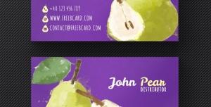 کارت ویزیت لایه باز با طرح گلابی مناسب جهت مناسب باغداران ، انبارداران میوه و فروشندگان میوه و تره بار