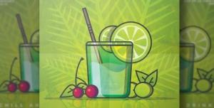 247 psd A5 CMYK 200dpi 300x152 - بروشور یا تراکت لایه باز تبلیغاتی آبمیوه فروشی با رنگ غالب سبز و طرح برگ و لیوان آبمیوه