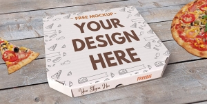 موکاپ لایه باز زیبا برای جعبه پیتزا با عکس پیتزای مخصوص و امکان درج لوگو برای درون جعبه