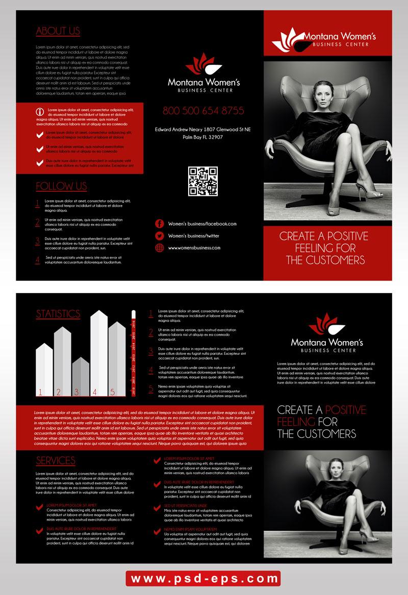 بروشور سه لت لایه باز مناسب شرکت های تجاری بازاریابی با طرح کلاسیک مشکی قرمز