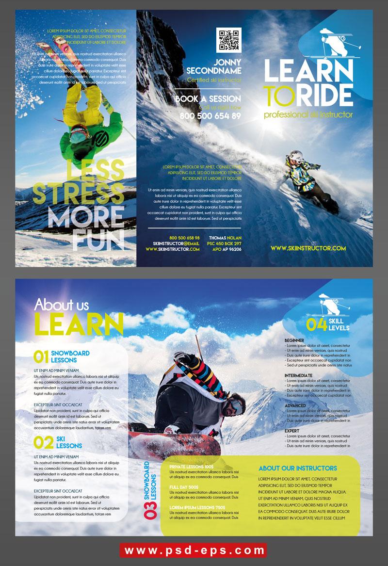 298 psd A4 CMYK 300dpi - بروشور سه لت تبلیغات ورزش های تفریحی زمستانه و آموزش اسکی روی کوه های پر از برف