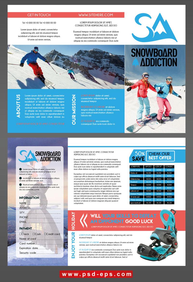 299 psd A4 CMYK 300dpi - بروشور سه لت لایه باز ورزش های زمستانه اسنوبرد و اسکی روی برف