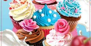 بروشور تبلیغاتی یا منوی لایه باز کافی شاپ دارای تصاویر انواع کاپ کیک با طعم های مختلف و طراحی زیبا