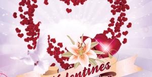 308 psd A4 CMYK 300dpi 300x152 - کارت تبریک یا دعوت لایه باز روز ولنتاین با تصاویر قلب های قرمز بزرگ و کوچک