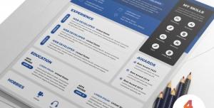 رزومه فردی یا CV لایه باز رسمی با امکان درج عنوان نام شخص و مهارت ها و تخصص ها