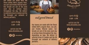 بروشور سه لت تبلیغاتی لایه باز یا منوی شیرینی فروشی یا فروشگاه انواع نان ، کلوچه و کیک خانگی با تصاویر انواع کیک و نان