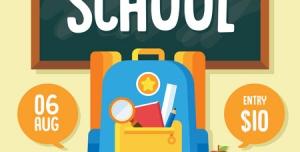 تراکت یا پوستر تبلیغاتی لایه باز فروشگاه لوازم التحریر و نوشت افزار برای آغاز سال تحصیلی با ارائه تخفیف ویژه