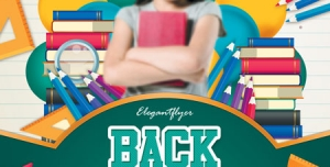 تراکت یا پوستر تبلیغاتی لایه باز زیبا فروشگاه لوازم التحریر مخصوص کودکان و انواع کتب کمک درسی برای آغاز سال تحصیلی