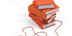 عکس با کیفیت کتب نارنجی متصل به ماوس