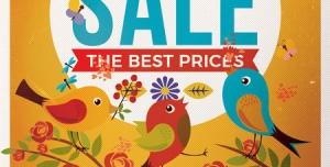 39 1 psd A5 cmyk 300dpi1 300x152 - پوستر یا تراکت لایه باز تبلیغاتی جشنواره فروش بهاره با رنگ بندی و طرح زیبای پرندگان با تخفیف ویژه