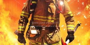 عکس با کیفیت آتش نشانی مجهز به ابزار امداد و نجات آتش نشانی با زمینه شعله های مهیب آتش
