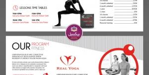 بروشور سه لت تبلیغاتی لایه باز ورزش یوگا و ژیمناستیک و سایر ورزش های جسمانی