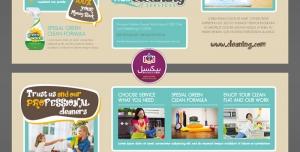 بروشور سه لت لایه باز شرکت های نظافتی منازل و سازمان ها و شرکت ها با رنگ های کرمی و فیروزه ای