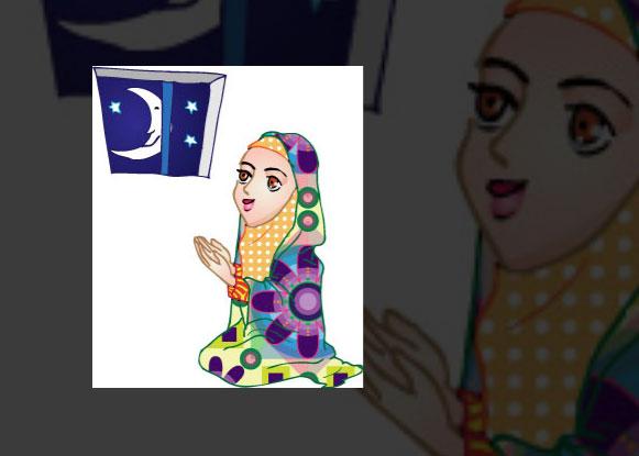 دختر در حال دعا خواندن بصورت با چادر سر سجاده دختر وکتور AI