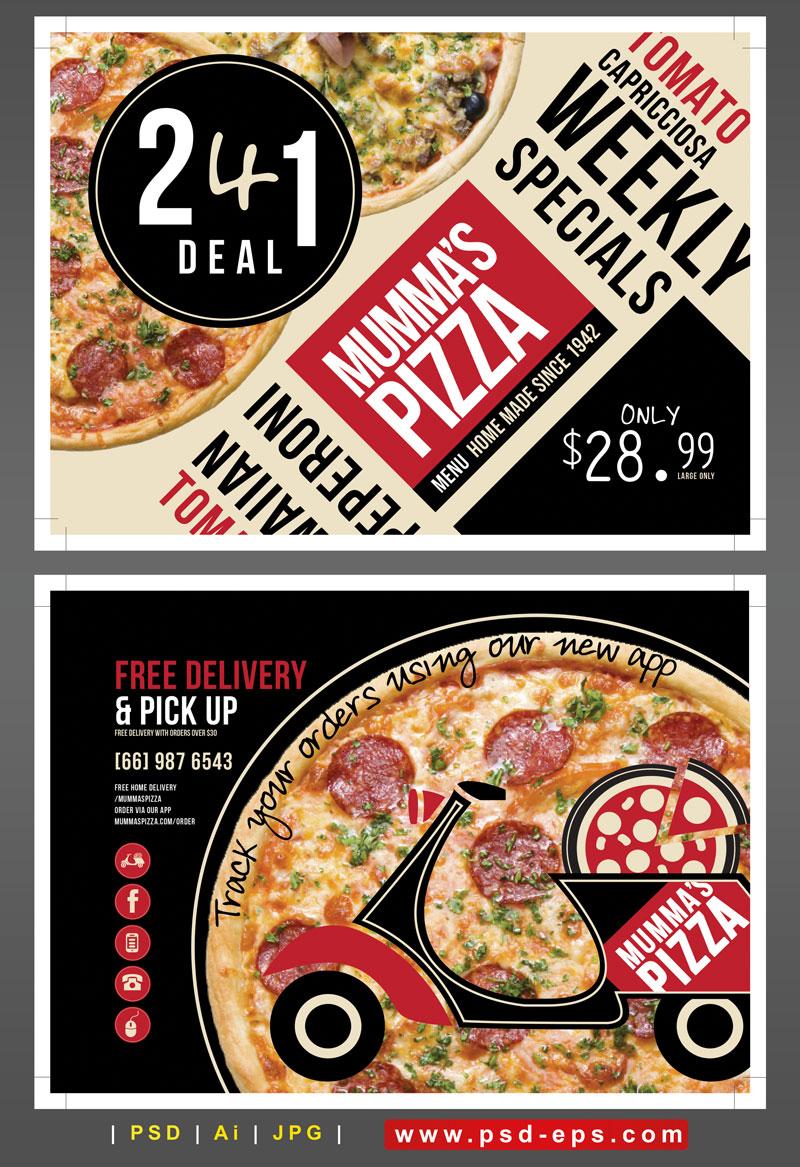 245 Ai psd A4 CMYK 300dpi - تراکت لایه باز تبلیغاتی فست فود یا پیتزا فروشی یا کترینگ با تصویر پیتزا با پیک موتوری