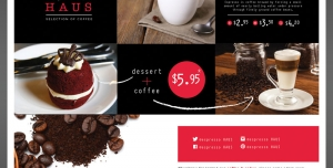 تراکت یا پوستر تبلیغاتی لایه باز کافی شاپ با تصاویر فنجان قهوه و لیوان نسکافه و کافی میکس و کیک و دانه های قهوه و پودر قهوه