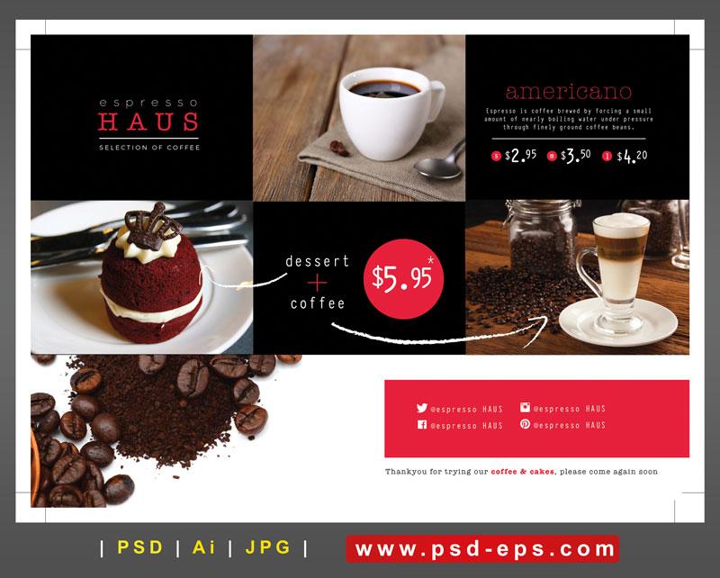 246 Ai psd A4 CMYK 300dpi - تراکت یا پوستر تبلیغاتی لایه باز کافی شاپ با تصاویر فنجان قهوه و لیوان نسکافه و کافی میکس و کیک و دانه های قهوه و پودر قهوه