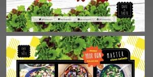 تراکت لایه باز تبلیغاتی ساندویچ فروشی با سبزیجات و مواد اولیه تازه یا رستوران های غذاهای رژیمی