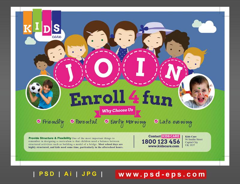 تراکت یا پوستر لایه باز تبلیغاتی ثبت نام بازی های گروهی کودکان یا مهدکودک