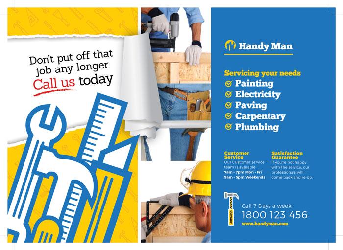 تراکت یا پوستر لایه باز تبلیغاتی نجاری یا تعمیرات وسایل چوبی ، ام دی اف و های گلاس