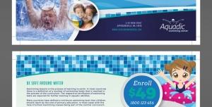 تراکت یا پوستر لایه باز مجموعه ورزشی ، تفریحی و استخر با آموزش شنا برای کودکان