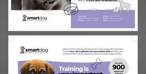 تراکت یا پوستر لایه باز مرکز نگهداری یا درمان حیوانات خانگی بویژه سگ با تصاویر سگ