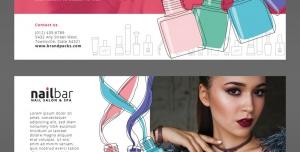 تراکت یا پوستر لایه باز تبلیغاتی لوازم آرایشی بویژه لاک و تبلیغات کاشت و طراحی ناخن