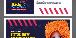 کارت دعوت لایه باز جشن تولد با تصویر کودک و امکان درج توضیحات و آیتم های جشن