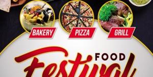 تراکت و پوستر لایه باز رستوران و فستیوال غذایی + PSD