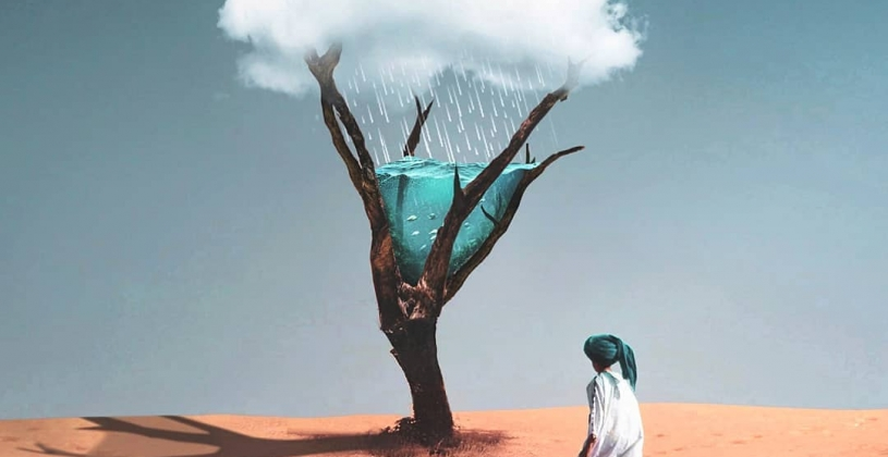 تصویر سازی زیبای کمبود آب در دل کویر با نمایش کودک، درخت و ابر پر باران