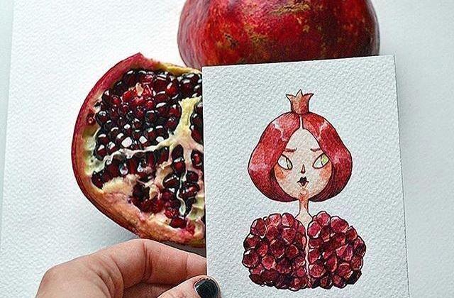 نقاشی های خلاقانه با الهام از میوه های انار ، هندوانه و استوایی برای مد لباس