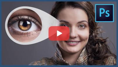 روتوش چشم در فتوشاپ + فیلم آموزش حرفه ای فتوشاپ با ایجاد انعکاس نور در مردمک چشم