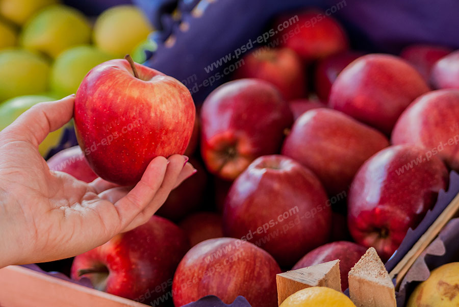 عکس با کیفیت سیب های سرخ چیده شده در میوه فروشی با تصویر سیب در دست مشتری ویژه استفاده در امور تبلیغاتی و تجاری طراحی کاتالوگ ، بروشور و تراکت با موضوع باغبانی ، کاشت میوه ، میدان و تره بار ، فروشگاه میوه و تره بار و میوه فروشی